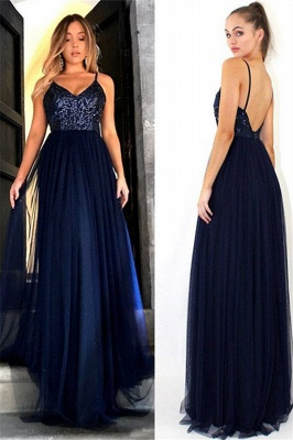 Crystal Spaghetti Strap Open Back Prom Dress UKes UK Tulle Elegant Evening Dress UKes UK with Beads_4