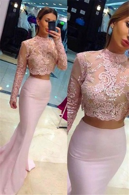 Sexy High Neck Lace Appliques Long Sleeves Prom Dress UKes UK Mermaid Pink Lace Two Piece Evening Dress UKes UK_1