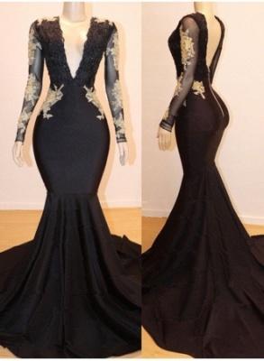 Long Sleeves Lace Appliques Elegant Mermaid Alluring V-Neck Long Prom Dress UK UKes UK_1