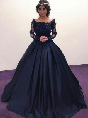 Lace Lace Appliques Bateau Long Sleeves Prom Dress UKes UK Ball Gown Evening Dress UKes UK with Beads_3