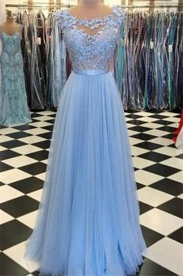 Sexy Jewel Applique Prom Dress UKes UK Sleeveless Tulle Elegant Evening Dress UKes UK with Sash_1