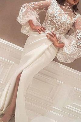 High Neck Lace Long Sleeves Prom Dress UKes UK Mermaid Ruffles Elegant Evening Dress UKes UK Sexy_2