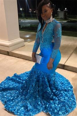 Simple Blue Sheer Tulle Long Sleeves Floral Lace Applique Elegant Trumpt Prom Dress UKes UK UK_3