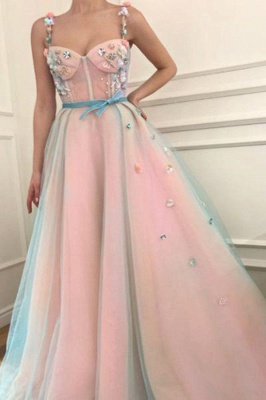 Sexy Flower Bowknot Spaghetti-Strap  Prom Dress UKes UK Ribbons Sheer Sleeveless Evening Dress UKes UK with Beads_1