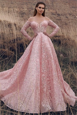 Sexy Pink Off-The-Shoulder with Sleeves Lace Applique Princess A-Line Prom Dress UK UKes UK_1