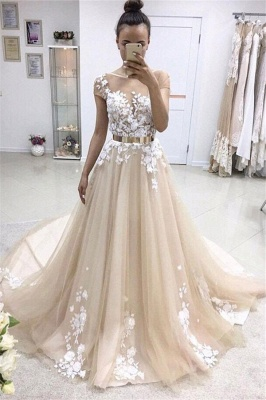 Lace Appliques Jewel Prom Dress UKes UK Ribbons Sheer Sleeveless Evening Dress UKes UK_1