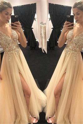 Sexy Spaghetti Strap Sequins Crystal Prom Dress UKes UK Tulle Side Slit Sleeveless Evening Dress UKes UK_1