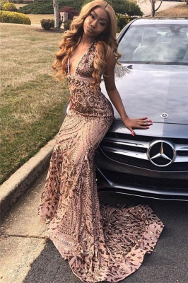 Elegant V-Neck Sequins Sleeveless Prom Dress UKes UK Mermaid Falbala Sexy Evening Dress UKes UK_3