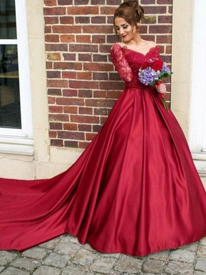 Red Lace Off-the-Shoulder Prom Dress UKes UK Long Sleeves Ball Gown Evening Dress UKes UK_3