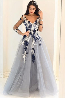 Sexy Off-the-Shoulder Lace Appliques Prom Dress UKes UKSimple Long Sleeves Evening Dress UKes UK_4