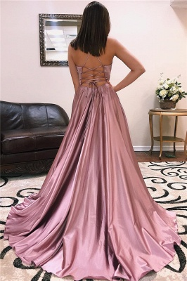 A-line Alluring V-Neck without Sleeve Front Slit Long Prom Dress UK UKes UK_4