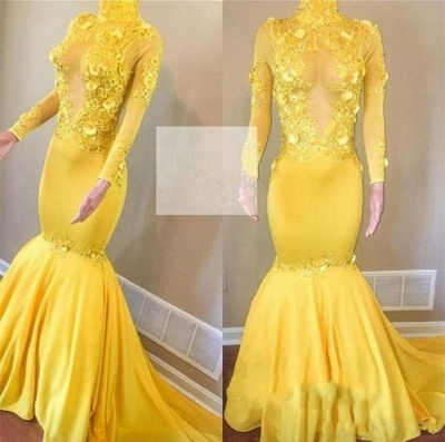Sexy Yellow High Neck Flower Lace Appliques Elegant Mermaid Long Sleeves Prom Dress UK UKes UK_3