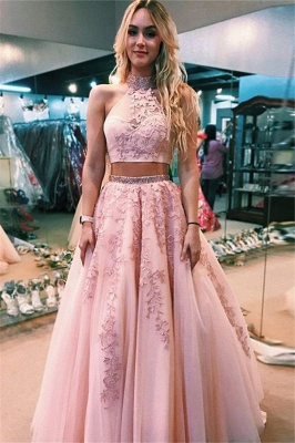 Sexy Lace Appliques Halter Two Piece Prom Dress UKes UK Open Back Sleeveless Evening Dress UKes UK with Beads_1