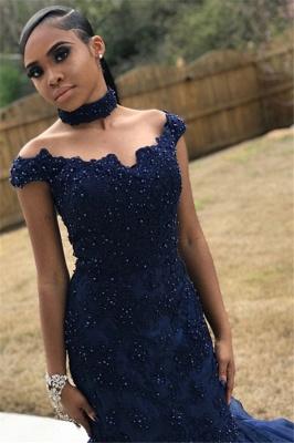 Navy Blue Off-The-Shoulder Beaded Lace Appliques Tulle Elegant Trumpt Prom Dress UKes UK UK_1