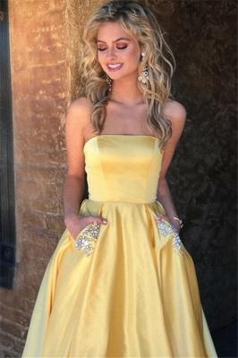 Strapless Beads Ruffles Prom Dress UKes UK Sleeveless Elegant Evening Dress UKes UK with Pocket_7