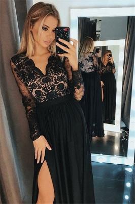 Side-Slit Lace Elegant V-Neck Prom Dress UKes UKBlack Tulle Long Sleeves Elegant Evening Dress UKes UK Sexy_1