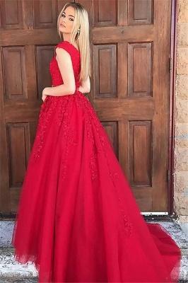 Fashion Red Elegant V-Neck Lace Appliques Prom Dress UKes UK Sleeveless Evening Dress UKes UK with Beads_3