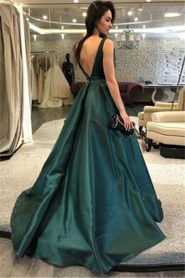 Dark-Green Open Back Prom Dress UKes UK Sleeveless Beads Elegant Evening Dress UKes UK_2