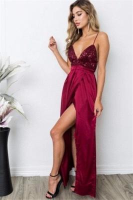 Burgundy Sequins Spaghetti Strap Prom Dress UKes UK Lace Up Sleeveless Side Slit Elegant Evening Dress UKes UK_1