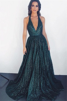 Gorgeous Dark Green Halter without Sleeve A-Line Prom Dress UK UK_1