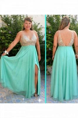 Sexy Sequins Green Elegant V-Neck Prom Dress UKes UK Plus Size Open Back Side-Slit Elegant Evening Dress UKes UK_2