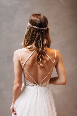 Elegant Lace Crystal Spaghetti-Strap Wedding Dresses UK Sheer Cheap Lace Up Sleeveless Floral Bridal Gowns_3
