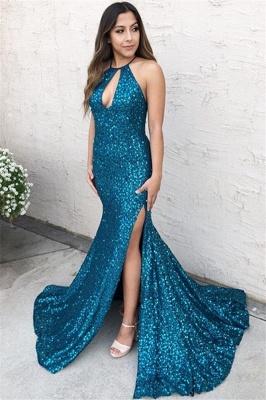Gorgeous Blue Halter Sequins Side-Split Criss-Cross Elegant Mermaid Prom Dress UK UK_1