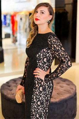 Hi-lo Lace Long Sleeves Lace Prom Dress UKes UK Plus Size Black Plus Size Elegant Evening Dress UKes UK_3