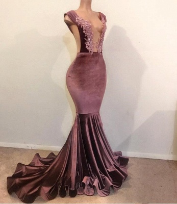 Elegant Mermaid without Sleeve Floor Length Lace Appliques Velvet Prom Dress UK UKes UK_1