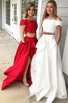 Sexy Off-the-shoulder Two Piece Ruffles Prom Dress UKes UKBeads Lace Side Slit Evening Dress UKes UK with Pocket_1