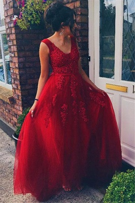 Red Jewel Lace Appliques Sleeveless Prom Dress UKes UK Tulle Evening Dress UKes UK with Beads_2