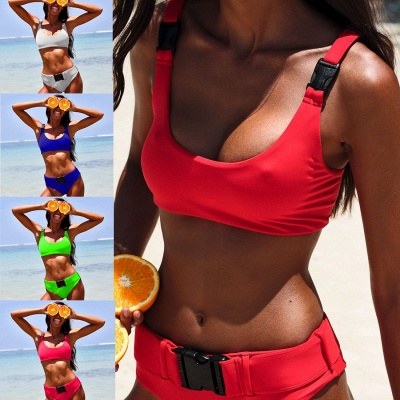 Plain Scoop Colorful Two-piece Buckled Bikini Swimsuits_9