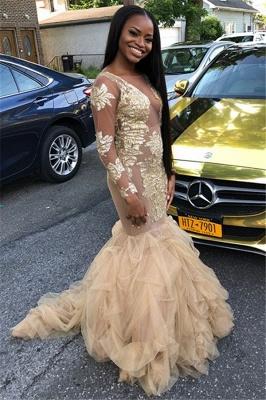 Jewel Sequins Long Sleeves Prom Dress UKes UK Ruffles Tulle Mermaid Evening Dress UKes UK_1