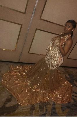 Sexy Gold Halter Sequins Prom Dress UKes UK Over Size Mermaid Sleeveless Evening Dress UKes UK_3