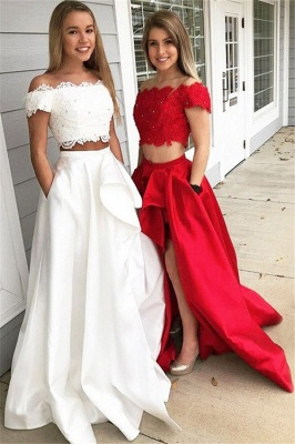 Sexy Off-the-shoulder Two Piece Ruffles Prom Dress UKes UKBeads Lace Side Slit Evening Dress UKes UK with Pocket_2