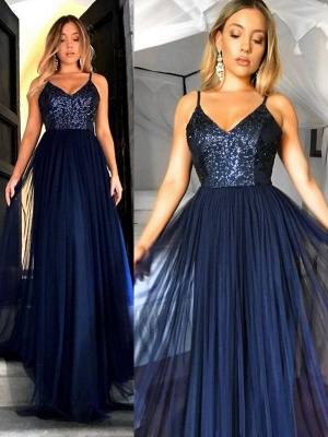Crystal Spaghetti Strap Open Back Prom Dress UKes UK Tulle Elegant Evening Dress UKes UK with Beads_2