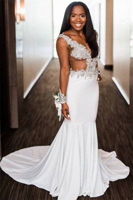Elegant V-Neck Crystal Flower  Prom Dress UKes UK Mermaid Long Sleeves Evening Dress UKes UK_1