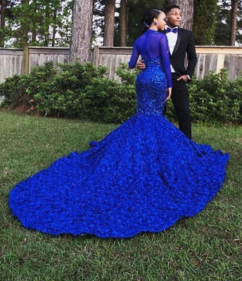 Simple Royal Blue Long-Sleeves Hign-Neck Floral Lace Applique Elegant Trumpt Evening Gown_2