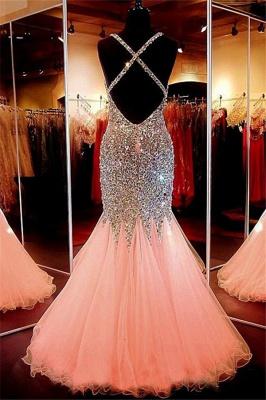 Spaghetti Strap Beads Crystal Prom Dress UKes UK Sleeveless Pink Lace Up Evening Dress UKes UK_3