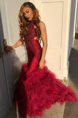 Long Tulle Halter Elegant Mermaid Lace Appliques Prom Dress UK UKes UK_1