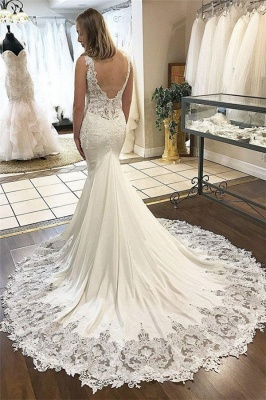 Elegant V-Neck Appliques Wedding Dresses UK | Sleeveless Backless  Sexy Mermaid Floral Bridal Gowns_2