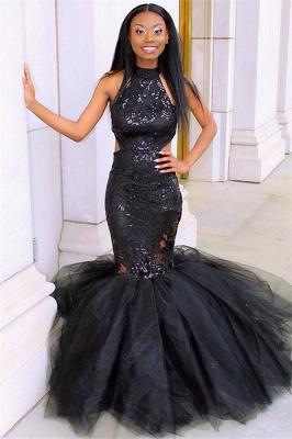 Elegant Blcak Halter Sleeveless Lace Applique Tulle Elegant Trumpt Prom Dress UK_1