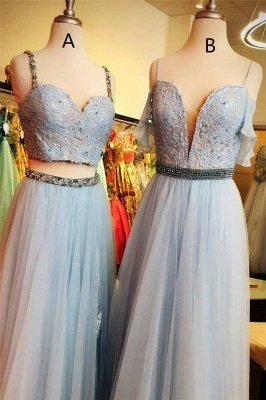Lace Appliques Spaghetti-Strap Crystal Prom Dress UKes UK Two Piece Sleeveless Evening Dress UKes UK with beads_2