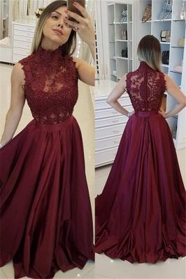 Burgundy High Neck Applique Prom Dress UKes UK Sleeveless Beads Elegant Evening Dress UKes UK with Sash_2