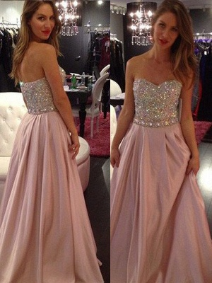 Sweetheart Crystal Prom Dress UKes UK Fashion Pink Sleeveless Evening Dress UKes UK_2