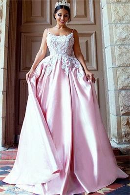 Open Back Appliques Prom Dress UKes UK Pink Spaghetti Strap Elegant Evening Dress UKes UK_1