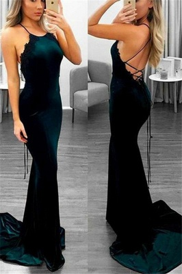 Lace Up Halter Applique Sleeveless Prom Dress UKes UK Mermaid Sexy Popular Elegant Evening Dress UKes UK_1