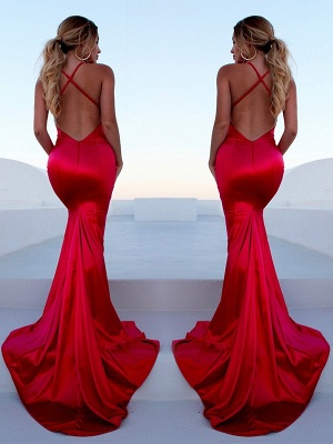 Sexy Red Halter Lace Up Prom Dress UKes UK Sleeveless Ruffles Mermaid Side Slit Elegant Evening Dress UKes UK_3