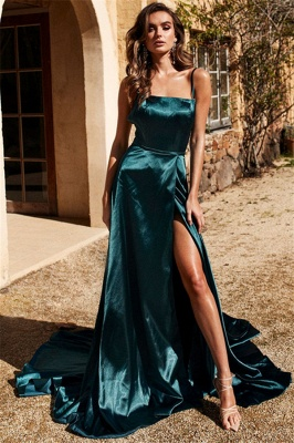 Sexy Spaghetti Strap Prom Dress UKes UK Side Slit Sleeveless Elegant Evening Dress UKes UK_1