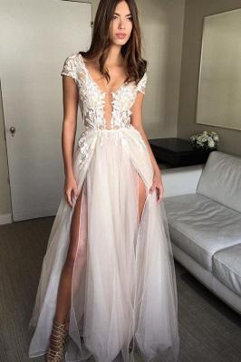 Elegant V-Neck Lace Appliques Prom Dress UKes UK Sheer Sleeveless Evening Dress UKes UK_4